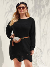 Load image into Gallery viewer, Plus Pointelle Knit Asymmetrical Hem Sweater Dress Without Bag