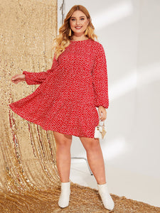 Plus Daisy Floral Print Lantern Sleeve Smock Dress