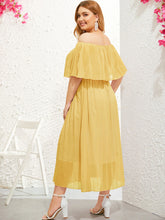 Load image into Gallery viewer, Plus Off-shoulder Pleated Chiffon Dress