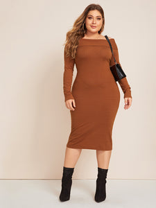Plus Foldover Bardot Fitted Sweater Dress