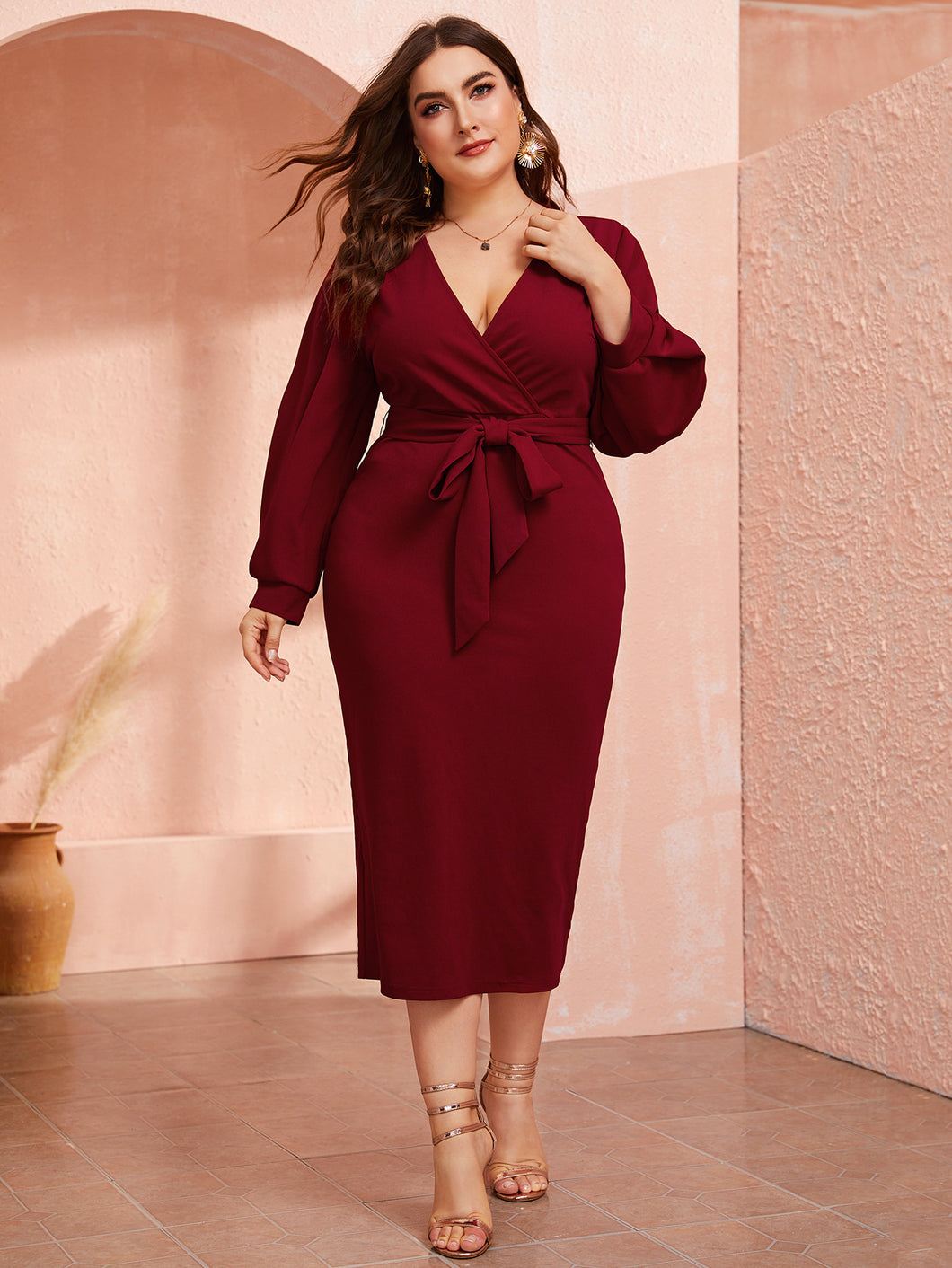 Plus Plunging Neck Wrap Belted Pencil Dress