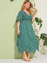 Load image into Gallery viewer, Plus Ditsy Floral Knot Cuff Hanky Hem Wrap Dress