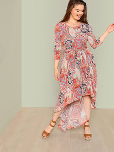 Plus Boho Print High Low Maxi Dress