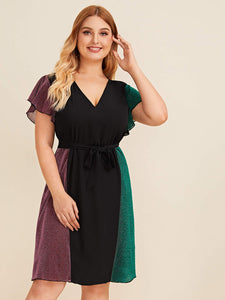 Plus Flounce Sleeve Colorblock Tie Waist Dress