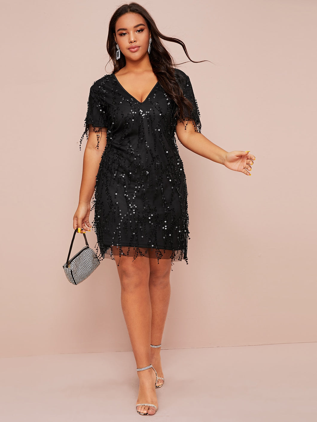 Plus Contrast Sequin Fitted Dress