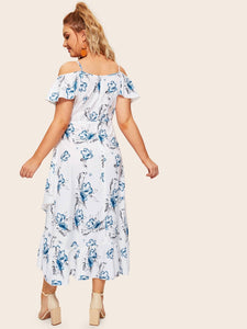 Plus Floral Print Ruffle Tulip Hem Dress