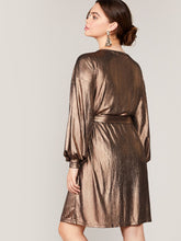 Load image into Gallery viewer, Plus Lantern Sleeve Wrap Belted Metallic Dress