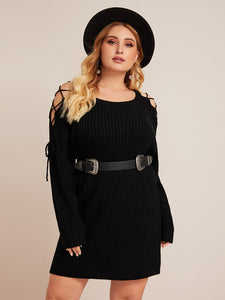 Plus Lace Up Ribbed Knit Sweater Dress Without Belted
