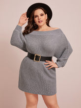 Load image into Gallery viewer, Plus Boat Neck Batwing Sleeve Sweater Dress Without Belt