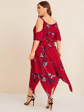 Load image into Gallery viewer, Plus Cold Shoulder Floral Print Asymmetrical Hem Dress