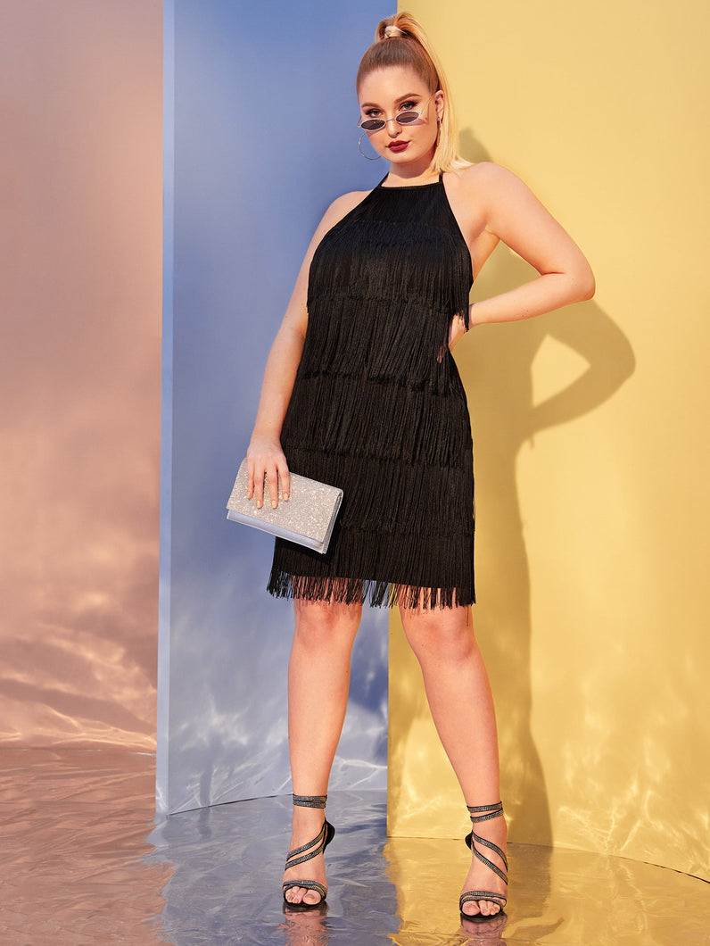 Plus Tiered Fringe Halter Dress