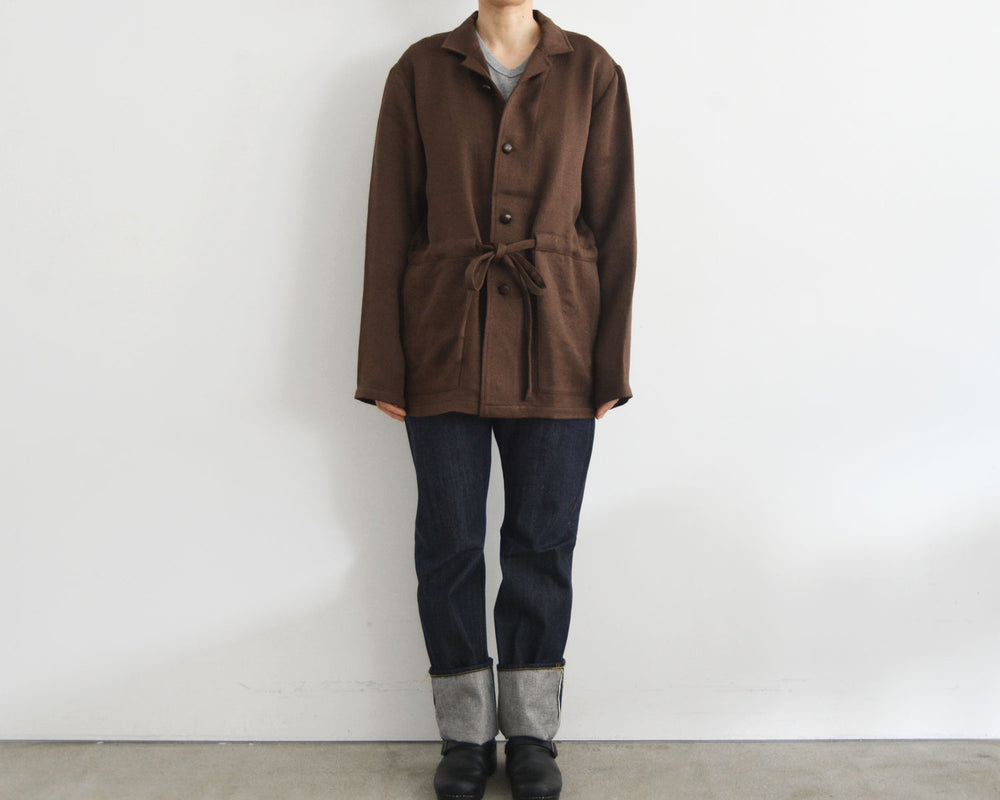 FRANK LEDER /BROWN WOOL SHIRT JACKET WITH DRAWSTRING