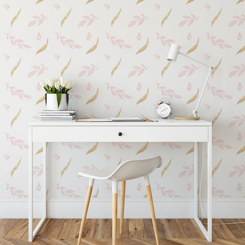 Golden Pink Floral Collection Wallpaper. Multiple Colours Available.