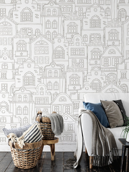 Modern Townhouse Wallpaper