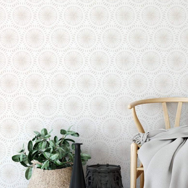Minimal Wallpaper. Hand Painted Wallpaper. Linen Color.