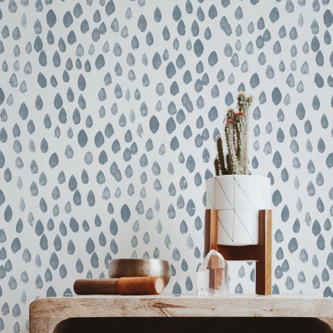 Handpainted Painted Raindrop Dots - Pale Blue