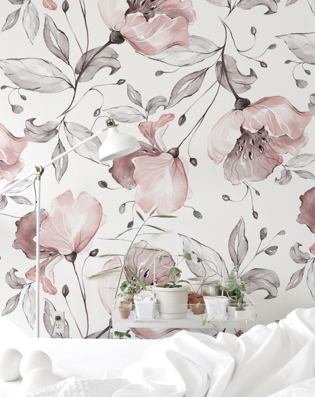 Pink Watercolour Floral Wallpaper. Nursery Pink.