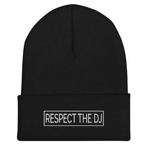 Respect The DJ White Logo Cuffed Beanie