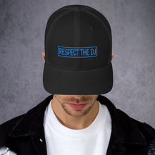 Load image into Gallery viewer, Respect The DJ Blue Logo Trucker Cap