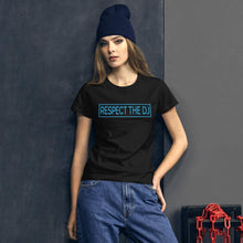 Load image into Gallery viewer, Respect The DJ Women's Blue Logo T-shirt (short sleeve)