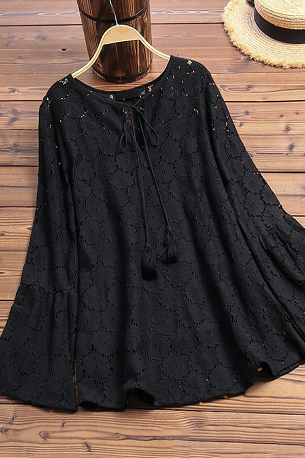 Casual Hollow Solid Loose Bell Sleeves Shirt