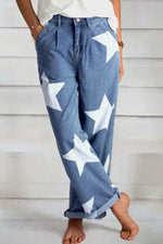 Star Print Casual Paneled Pockets Loose Jeans