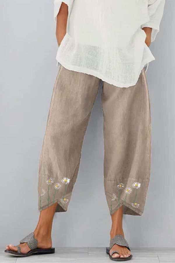 Daisy Print Cross Front Paneled Casual Harem Pants