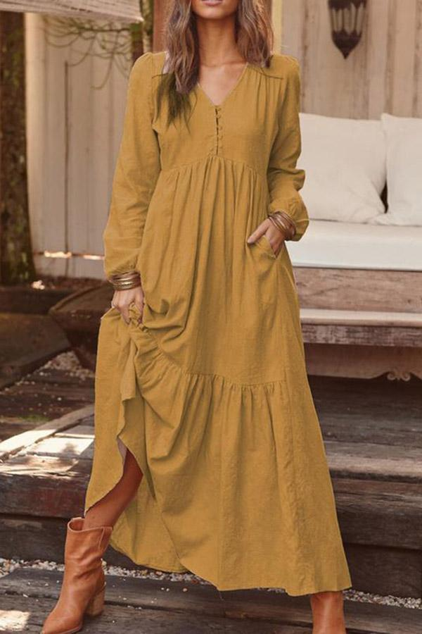 Vintage Long Sleeves Casual Loose  Dress