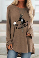 Letter Animal Print Loose Crew Neck T-shirts