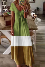 Color-block V-neck Short Sleeves A-line Holiday Maxi Dress