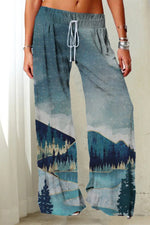 Holiday Lively Forest Starry Sky Mountain Landscape Nature Print Self-tie Wide Leg Pants