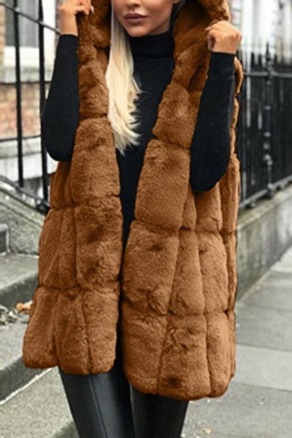 Solid Faux Fur Hoodies Sleeveless Coat
