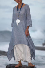 Asymmetric Solid Long Sleeves Maxi Dress