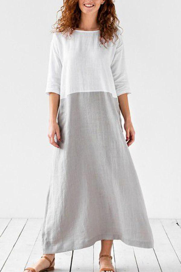 Casual Color-block Half Sleeves Pockets Maxi Dress
