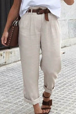 Casual Solid Paneled Work Long Pants