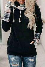 Color-block Striped Jacquard Drawstring Casual Hoodie