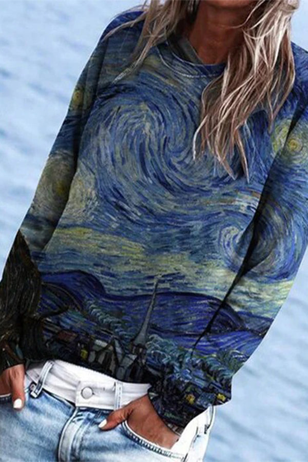 Oil Painting Artistic Starry Sky Village Mountain House Nature Landscape Print T-shirt