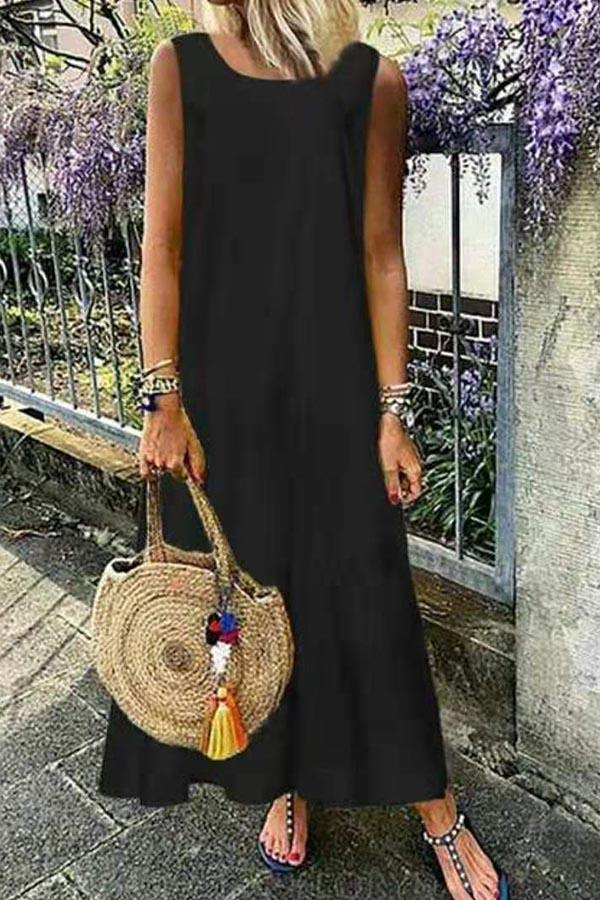 Casual Solid Crew Neck Sleeveless Maxi Dress