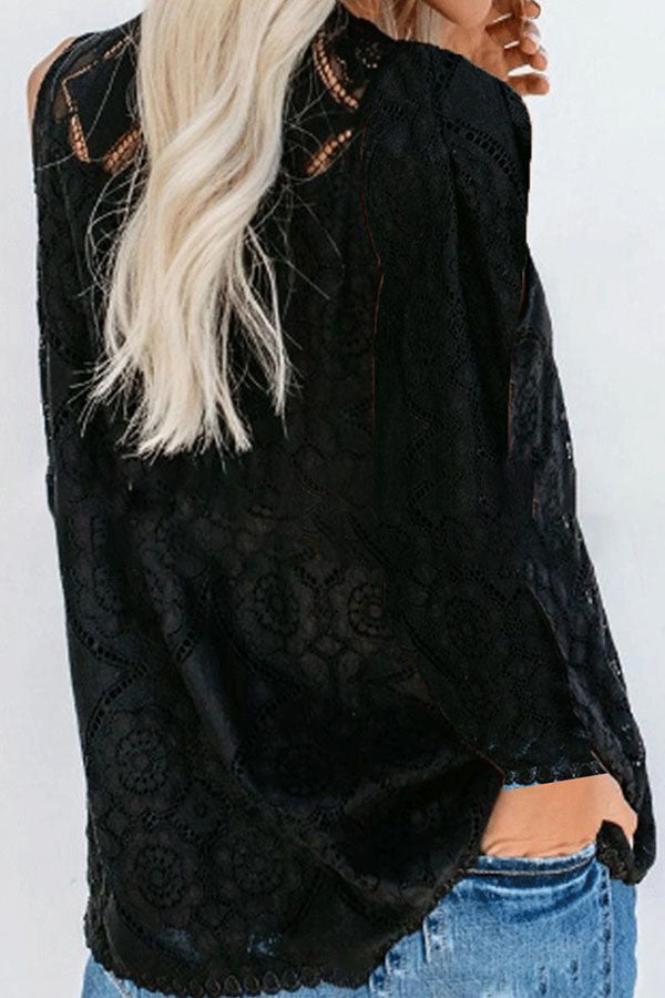Casual Floral Lace Solid Cutout Blouse
