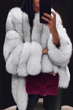 Women Luxurious Temperament Solid Fuzzy Open Front Coat
