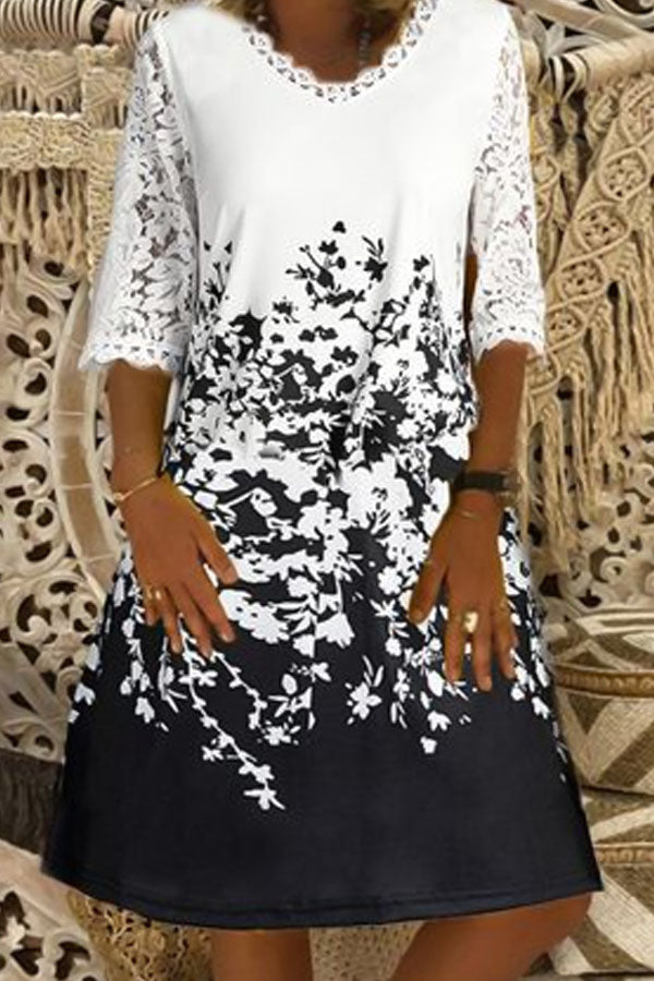 Elegant Paneled Floral Print Color-block Lace Midi Dress