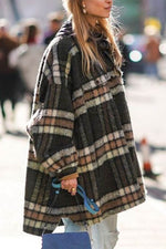 Street Plaid Jacquard Buttons Down Side Pockets Lapel Collar Slit Coat