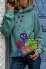 Colorful Cartoon Gradient Cat Footprint Print Lively Hoodie
