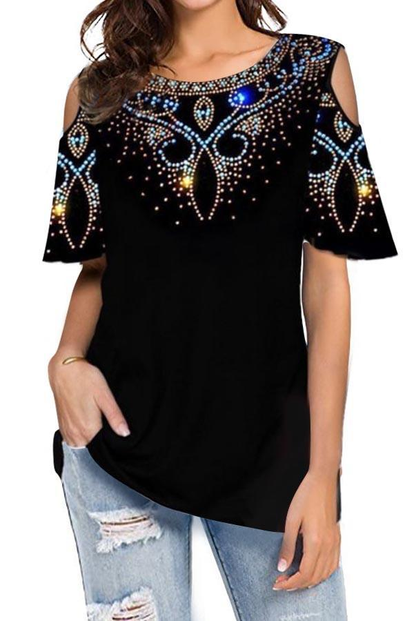 Graphic Print Cold Shoulder Casual Blouse