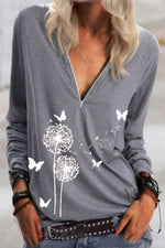 Dandelion Butterfly Print Paneled Zipper Front V-neck Casual T-shirt