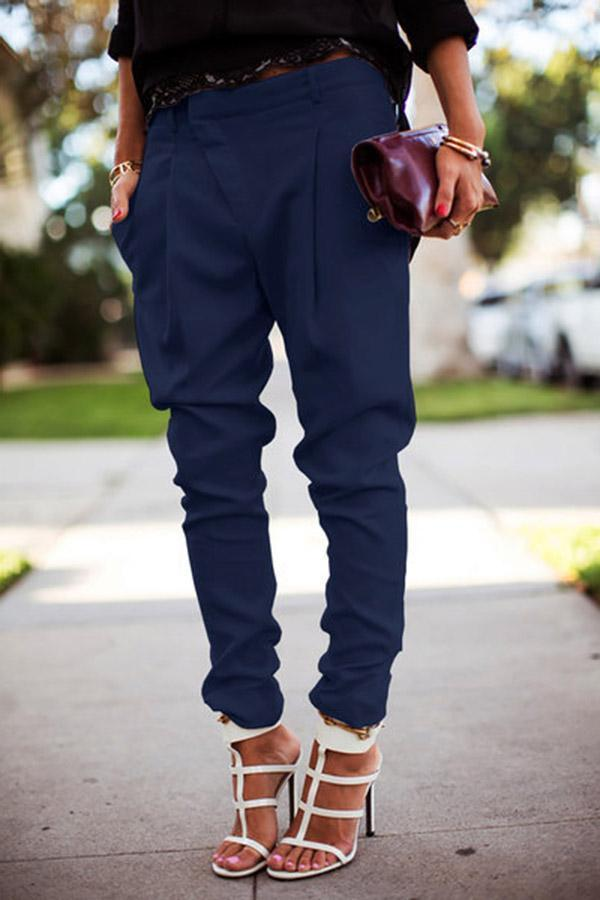 Solid Casual Side Pocket Pants