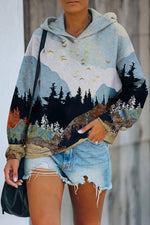 Nature Landscape Flying Bird Mountian In Mixed Color With Surrounding Forest Treetop Jacquard Hoodie