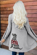 Time Spent With Dogs Is Never Wasted Letter Print Open Front Casual Knitted Cardigan