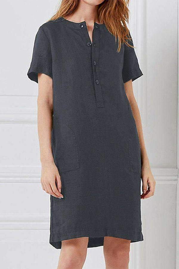 Solid Button-up Front Midi Dress