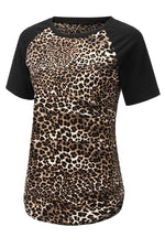 Paneled Leopard Print Color-block Curved Hem Vintage T-shirt